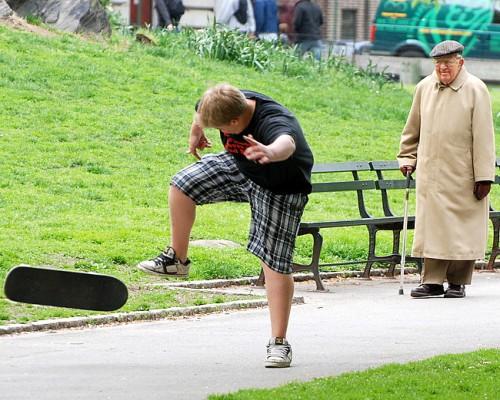 Skateboard & cane