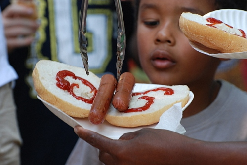 Hot dogs on a round roll, Solstice celebration, Bala Cynwyd, Pa.