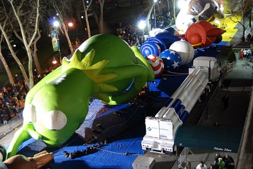 Kermit, inflated with helium