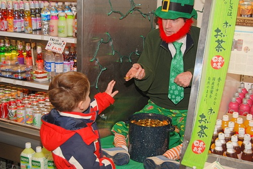 Leprechaun in a Japanese food store, Narberth