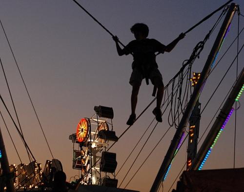 Boy on bungee ride, Strawberry Festival