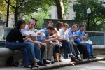 Lunch crowd during Rittenhouse art show, Philadelphia