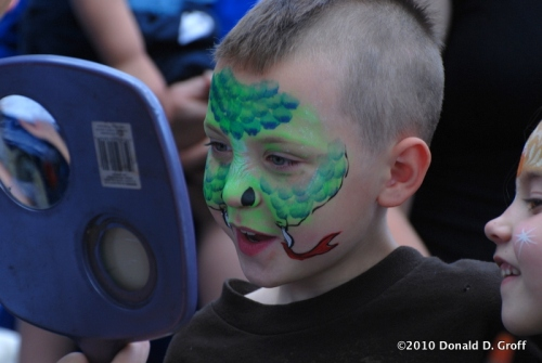 face-painted, Narberth spring festival, May 16, 2010