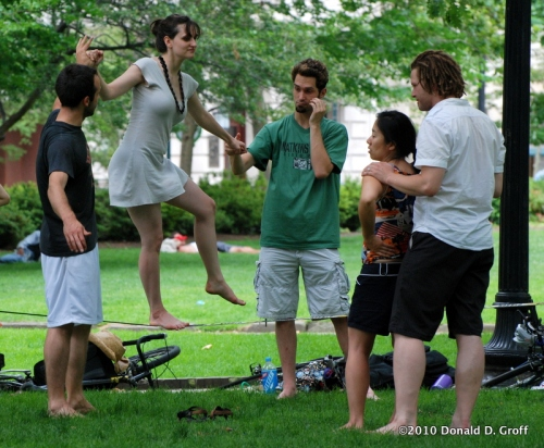 practicing the tightrope in rittenhouse square