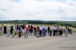 Visitors gather at the overlook, temporary Flight 93 Memorial, August 2010