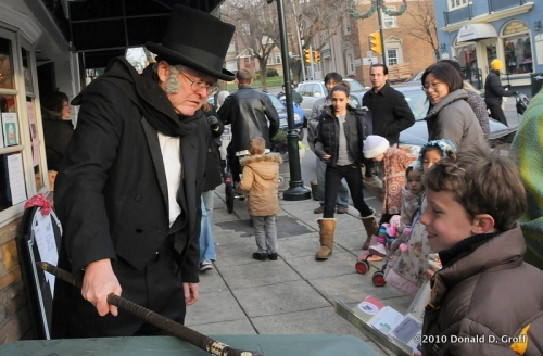 Scrooge slams his cane at Narberth Dickens Festival, 2010.