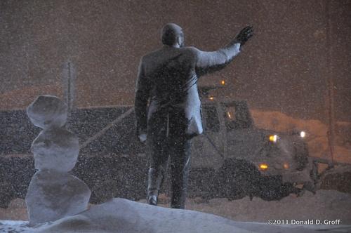 Rizzo statue in a snowstorm, Philadelphia