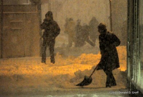 silhouettes in the snow, Philadelphia