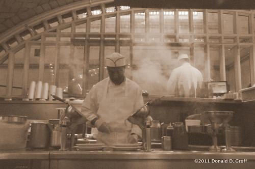 Making pan roasts at the Oyster Bar, NYC