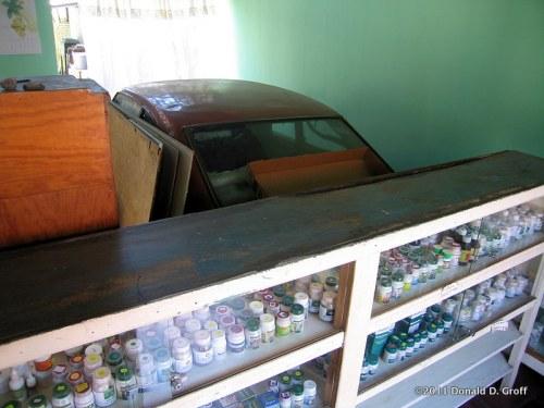 Car in a pharmacy, Granada, Nicaragua