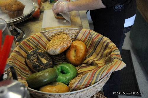 Green bagels at the Cheese Company, Narberth, PA