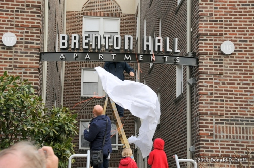 sign unveiling at Brenton Hall apartements, Narberth