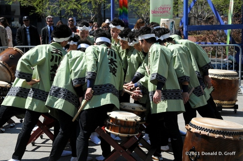Tamagawa University Taiko drummers prepare to perform