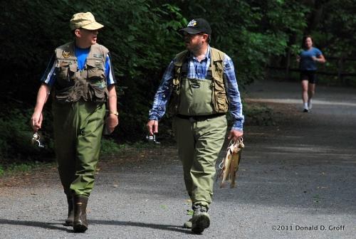 Anglers along Forbidden Drive, Wissahickon Valley Park, Philadelphia