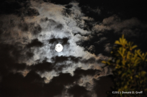 Almost-full moon over Lower Merion Township, Pa., July 13, 2011