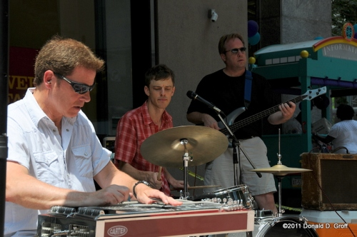 From left: Jim Callan on pedal steel; Dan Pell, drums; Doug Corrigan, bass