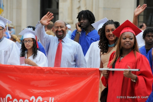 mayor michael nutter and wife lisa led off the parade with a batch of new graduates.