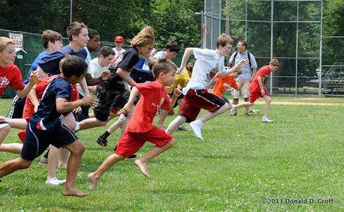 July 4 foot race, Narberth playground, 2011