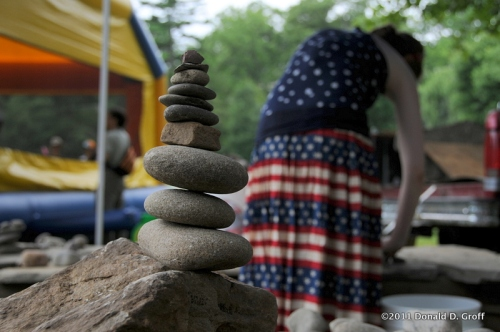 rock garden booth -- stack your age in rocks.