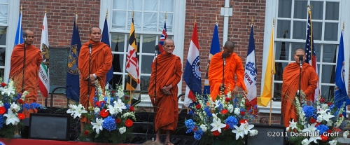 Buddhist monks in front of Independence Hall, July 4, 2011