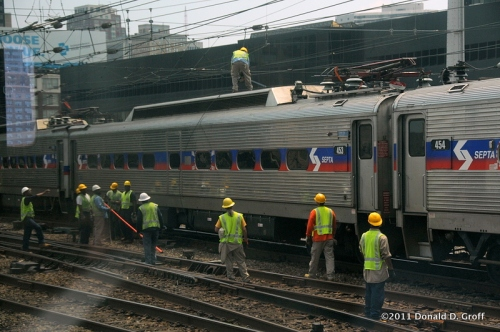 Working on an overhead electrical problem, Septa, Philadelphia, July 11, 2011.