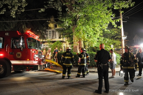 Fire at Forrest and Woobine avenues, Narberth, Pa., early Aug. 5, 2011.