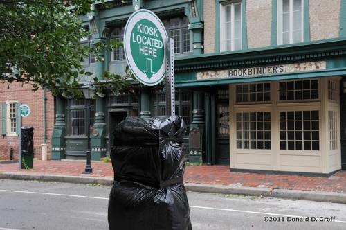 Parking kiosks shuttered for hurricane -- free parking.