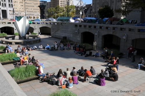 Quaker meeting at site of Occupy Philadelphia outside city hall, Sunday, Oct. 16, 2011