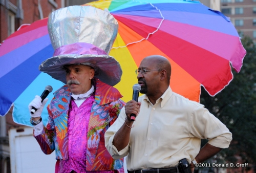 henri david & mayor nutter at OutFest, 10/9/11