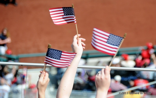 Flags were passed out to fans on Saturday as part of Military Appreciation Day.